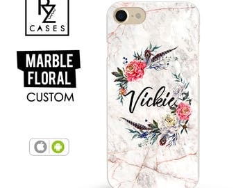 Rose Marble Phone Case, Marble iPhone 7 Case, Boho Case, Floral Marble, Personalized Gift for Her, iPhone 7 Plus, Floral, iPhone 6S, Custom