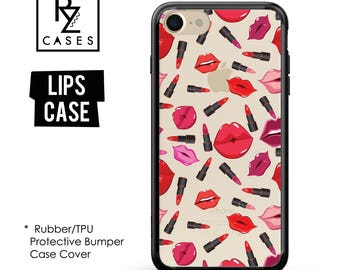 Lips Phone Case, Fashion Case, iPhone 7 Case, Red Lips case, iPhone 6s, Kisses Phone Case, iPhone 5, Lipstick Case,Rubber, Bumper