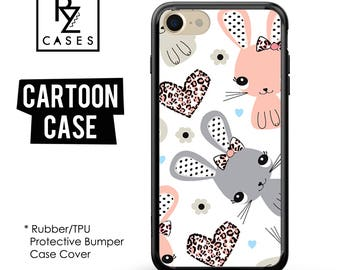 Bunny Phone Case, Rabbit Phone Case, Cartoon Phone Case, iPhone 7, Animal, Gift for Her, iPhone 7 Plus, iPhone 6S, Rubber, Bumper