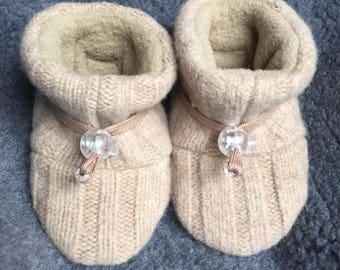 Tan Wool Children's slipper, non-slip soft sole shoe from Toggle Toes, in preschool size 24-36 months or child's shoe size 7-8