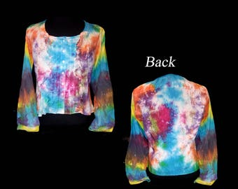 Vintage Hand Tie-Dyed MODA INTL Ladies Ruffled Blouse - Size XL