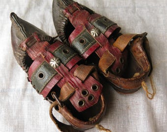 Oriental antique children hand made leather shoes