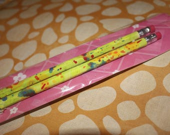 Lime green painted paper pencil set of two hand painted paper wrapprd pencils
