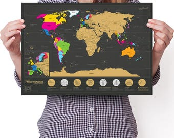 World scratch map etsy 7 wonders scratchable world map travel edition personalised travel tracker poster remember and gumiabroncs Image collections