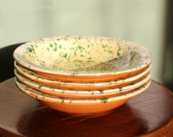 Speckle Splatter Glaze Bowls Vintage Dishes Made in Italy Hand Made Pottery