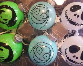 Nightmare Before Christmas inspired glass ornaments