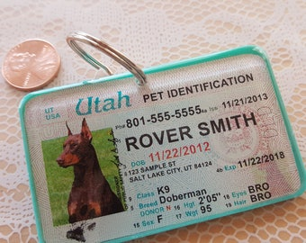 Drivers License Style Pet ID Tags