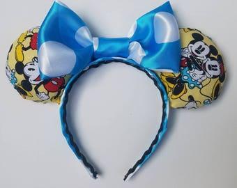 Minnie Ears Satin Blue Bow
