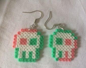 Pink and Seafoam Green skulls beads Earrings