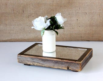 Rectangular Rustic Reclaimed Wood Mirror Centerpiece / rustic centerpieces / wooden centerpieces / mirror centerpieces