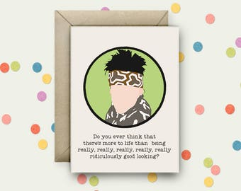 Zoolander Pop Art and Quote A6 Blank Greeting Card with Envelope