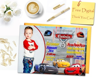 Cars 3 Birthday Invitation, Cars 3 Party Invitation, Cars 3 Invitation, Cars 3 Thank You Card, Cars Invitation, Cars Thank You Card, Cars 3