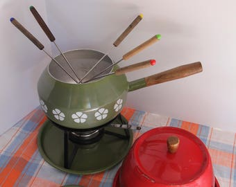 Vintage Fondue Pot Set, Green and Red, with Skewers