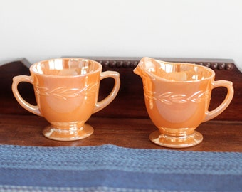 Vintage Anchor Hocking Fire King Peach Lusterware Sugar Bowl and Creamer Set