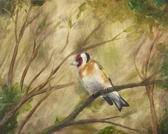 Bird Art Print Goldfinch Oil Painting - Giclée Print