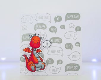 Handmade Card - Hi - MFT Magical Dragons