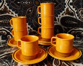 Vintage Egersund Kare Blokk Johansen Unique Set Cups & Saucers Coffee Tea Norway Pottery Scandinavian Design 70s