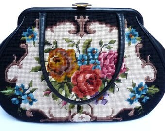 Vintage Large Shoulder Handbag Bag Woven Tapestry Embroidery Roses Natural Leather Mid Century