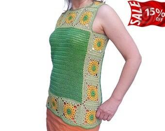 Knit top Cotton knit vest Green crochet top Summer knit top Sleeveless sweater Floral top Crocheted sunflower Sunflower vest Womens gift