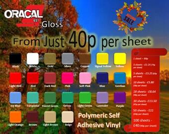 A4 sheets-Oracal 651 Polymeric Self Adhesive Gloss Vinyl Cricut/Silhouette/Cameo