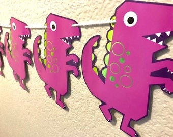 Dinosaur Banner, Purple, Dino, Barney, Party Supplies, Party Decoration, Garland, Streamer, Sign, Kid's Birthday, Custom, Personalized