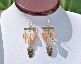 bronze OWL earrings, copper beads