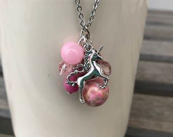 Unicorn Necklace, Unicorn Gift, Stainless Steel Necklace, Unicorn Jewelry, Beaded Necklace, Necklaces for Girls, Pendant Necklace, Unicorn