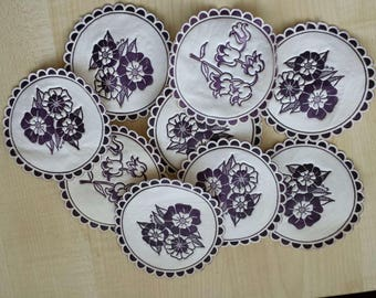 Vintage Table Mats from '70s, Set of 10 pieces