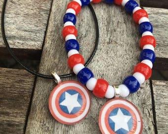 Captain America party favors.Captain America bead bracelet.Captain America pendant necklace.Captain America jewelry.Captain America jewelry
