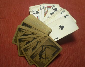 Vintage playing cards in original box with Gondolier design
