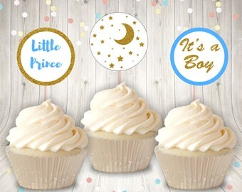 Baby Shower Cupcake Toppers Set 1, Printable Cupcake Toppers, Blue and Gold