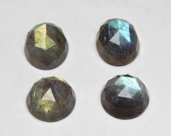 Natural Labradorite Faceted Rose cut Shape- Oval 15x18 MM & Round 16x16 MM Flashy Fire Labradorite 4 PCs Lot loose semi- precious gemstones