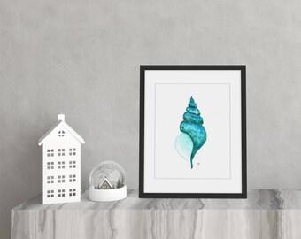 8x10 Seashell - Abstract Original Art - Alcohol Ink on Yupo