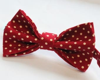 Bow Tie. UK Made. Red Polka Dot. Cotton Canvas. Premium Quality. Pre-Tied.