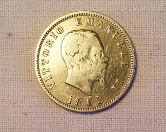 1 LIRА ITALY 1863, Sardegna (Regno). Vittorio Emanuele II