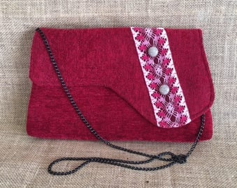 Red Chenille Vintage 1920s Fashion Style Clutch