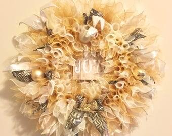 Gold and Ivory Deco Mesh Wreaths-please read description
