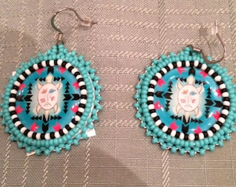 Beaded Earrings - Turtle Design