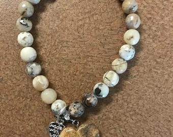 Howlite Heart Bracelet