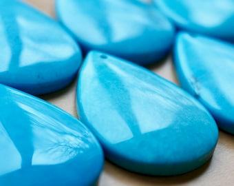 Turquoise pendant, turquoise magnesite natural stone pendant, raw stone pendant, top drilled, teardrop pendant, P0025