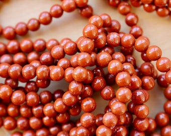 4mm Red Fire Jasper beads, full strand, natural stone beads, round, 40025