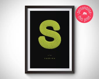 Personalised Name Print, Grass Letter Print, Girl's Name, Boy's Name, Gift for a Girl, Gift for a Boy, Gift for Him, Gift for Her