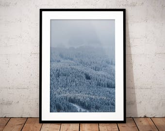Winter Forest Digital Print, Winter Wonderland Poster, White Forest Printable, White Mountain, Minimal Print, Nature Photography, Home Decor