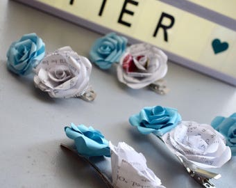 Cinderella Flower Hair Clip, Slide, Fascinator made from Paper Roses, Blue, Book Pages, Disney Fan, Disney Princess