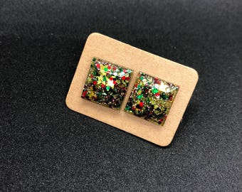 Large square Christmas glitter stud earrings