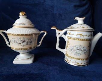 Antique Cream and Sugar Set - marked AUR- hand painted, genuine gold plated