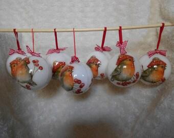 5 plastic Christmas balls. Set of five.