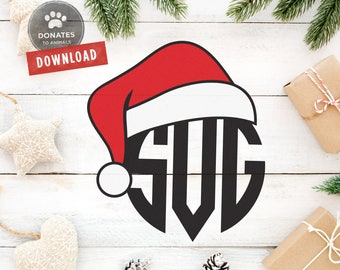 Santa Hat Monogram SVG | Santa Hat Monogram Cut File Cuttable | Christmas Monogram Frame SVG | Holiday Circle Monogram SVG File for Cricut