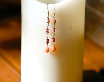 Sterling Silver Wire-Wrapped Earrings -- pink tourmaline & pink opal