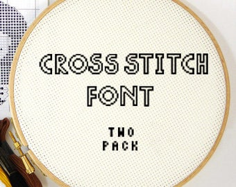Cross stitch font pattern alphabet two pack modern letters